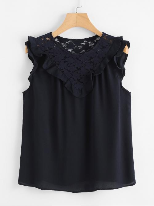Pretty Sleeveless Top Frill Chiffon Floral Lace Insert Detail Top