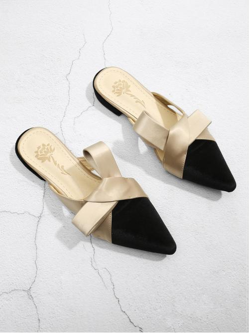 Corduroy Multicolor Mules Spiked Knot Design Pointed Toe Slippers Fashion