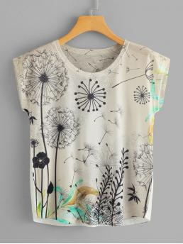 Casual Plants Regular Fit Round Neck Short Sleeve Pullovers Multicolor Regular Length Dandelion Print Dolman Sleeve Tee