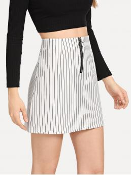 Casual Bodycon Striped Mid Waist White Above Knee/Short Length Zip Up Front Striped Skirt