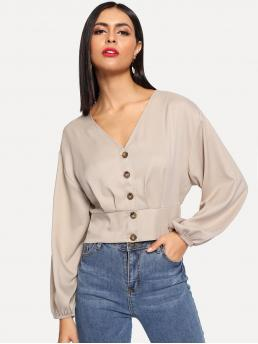 Casual Plain Shirt Regular Fit V neck Long Sleeve Bishop Sleeve Placket Khaki Crop Length Crop Button Up Shirred Back Blouse