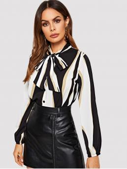 Casual Striped and Colorblock Shirt Regular Fit Stand Collar Long Sleeve Regular Sleeve Placket Black and White Regular Length Tie Neck Striped Blouse