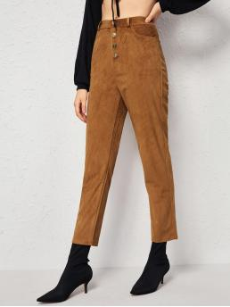 Casual Plain Tapered/Carrot Regular Button Fly Mid Waist Brown Cropped Length Solid Button Fly Corduroy Pants