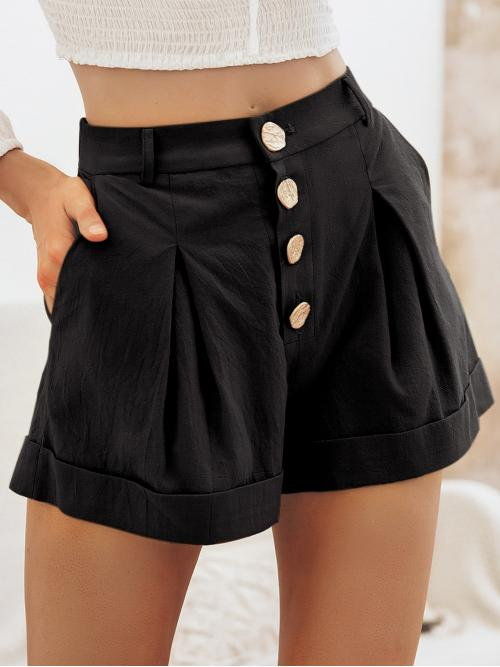 Casual Plain Straight Leg Regular Button Fly Mid Waist Black Simplee Roll Up Hem Button Fly Shorts