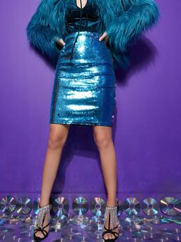 Cheap Blue High Waist Bodycon Colorblock Sequin Color Changed Skirt