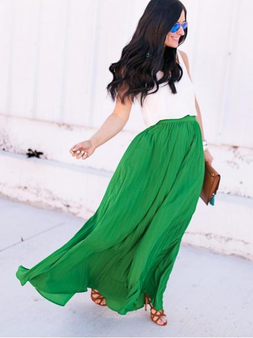 Green Natural Waist Pocket Pleated High Waist Longline Ladies