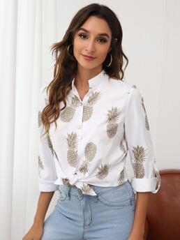Fashion Long Sleeve Shirt Button Front Polyester Pineapple Print Roll Tab Sleeve Button up Blouse