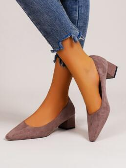 Clearance Dusty Pink Suede Rubber Pu Leather Minimalist Chunky Court Heels