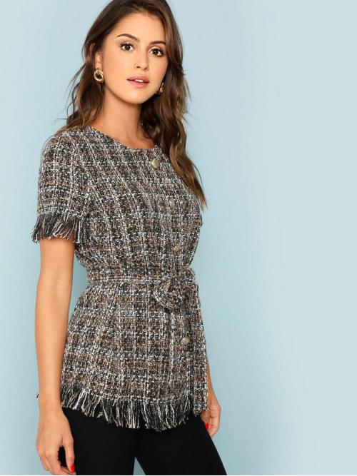 Sale Short Sleeve Top Belted Satin Button Front Raw Hem Tweed Top