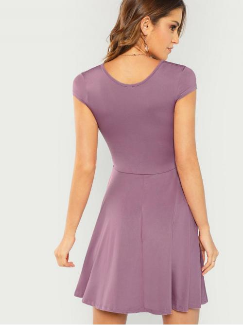 Trending now Purple Plain Contrast Lace Round Neck Solid Fit & Flare Dress