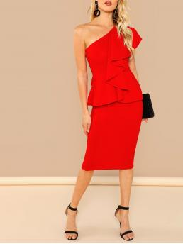 Glamorous Bodycon Plain Slim Fit One Shoulder Sleeveless Natural Red and Bright Midi Length One Shoulder Ruffle Trim Bodycon Dress
