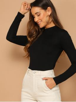 Basics Plain Slim Fit Stand Collar Long Sleeve Pullovers Black Regular Length Solid  Mock Neck Fitted Tee