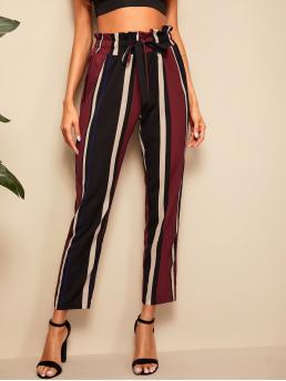 Casual Striped Tapered/Carrot Regular Drawstring Waist and Elastic Waist High Waist Multicolor Crop Length Paperbag Waist Striped Pants