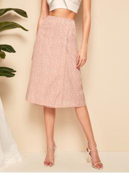 Boho Wrap High Waist Pink Midi Length Dalmatian Buttoned Wrap Knotted Skirt with Belt