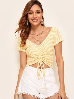 Casual Striped Asymmetrical Regular Fit V neck Short Sleeve Pullovers Yellow Crop Length Raglan Sleeve Drawstring Front Striped Tee