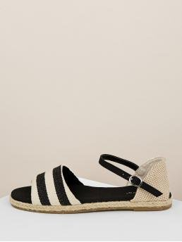 Other Striped Ankle Strap Multicolor Espadrille Striped Open Toe Band Buckled Ankle Sandals