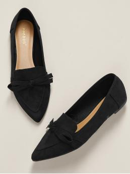 Pretty Black Loafers Bow Point Toe Accent Pointed Toe Ballet Flats