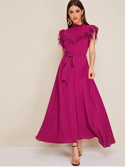 Elegant A Line Plain Flared Regular Fit Stand Collar Cap Sleeve Butterfly Sleeve High Waist Pink Long Length Mock Neck Ruffle Mesh Trim Belted Dress with Belt
