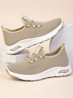Camel Running Shoes Lace up Low-top Minimalist Decor Mesh Running Shoes Shopping