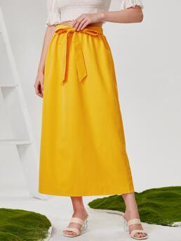 Clearance Yellow High Waist Tie Front a Line Solid Skirt