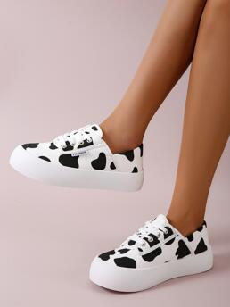 White Canvas Rubber Mesh Cow Pattern Lace-up Front Shoes Affordable