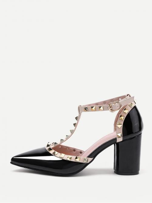 Rock T strap Black High Heel Chunky Rockstud Decorated Point Toe Heeled Shoes
