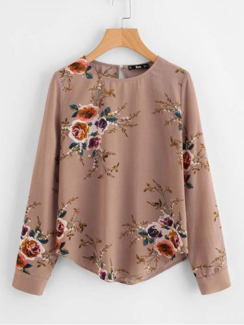 Fashion Long Sleeve Top Button Polyester Curved Hem Blouse