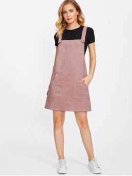 Preppy Pinafore Plain Regular Fit Straps Sleeveless Pink and Pastel Short Length Patch Pocket Front Suede Overall Dress