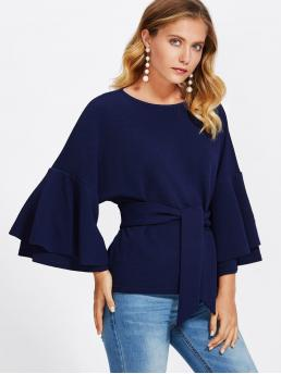 Elegant and Casual Plain Top Regular Fit Round Neck Long Sleeve Flounce Sleeve Navy Tie Front Layered Trumpet Sleeve Textured Top with Belt