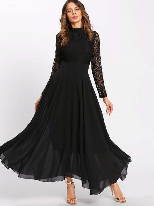 Romantic A Line Plain Flared Regular Fit Stand Collar Long Sleeve Natural Black Long Length Frill Neck Lace Flowy Maxi Dress with Lining