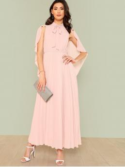 Glamorous A Line Plain Pleated Regular Fit Stand Collar and Tie Neck High Waist Pink and Pastel Maxi Length Tie Neck Cloak Sleeve Pleated Panel Dress