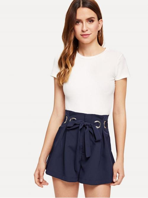 Affordable Navy Blue High Waist Belted Straight Leg O-ring Box Pleated Shorts