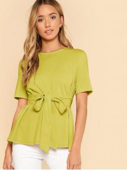 Short Sleeve Top Belted Polyester Self Belt Keyhole Back Solid Top Beautiful