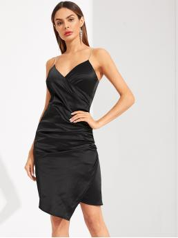 Glamorous and Sexy Cami Plain Asymmetrical Slim Fit Spaghetti Strap Sleeveless Natural Black Short Length Ruched Surplice Wrap Dress With Chain Strap