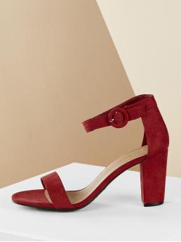 Classy Open Toe Plain Ankle Strap Red High Heel Chunky Single Band Ankle Strap Block Heel Sandals