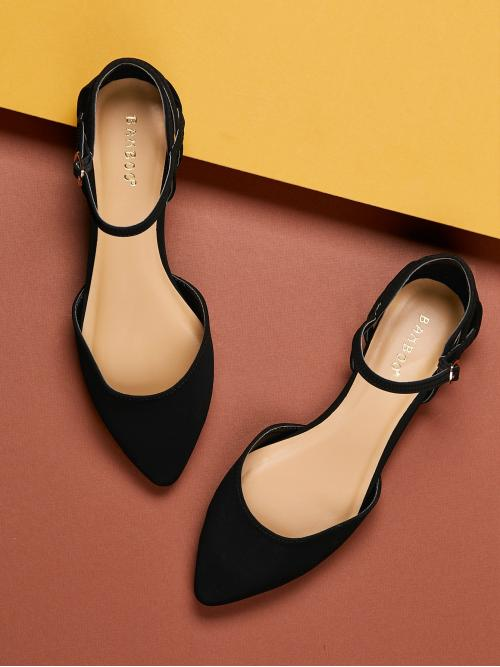 Comfort Point Toe Plain Ankle strap Black Cut Out Detail Pointy Toe Ankle Strap Ballet Flats