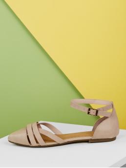 Comfort Ankle Strap Nude Open Sides Point Toe Strap Detail Ballet Flats