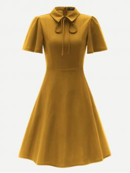 Vintage A Line Plain Flared Regular Fit Collar Short Sleeve Flounce Sleeve High Waist Yellow Short Length Zip Back Tie Neck Flare Dress