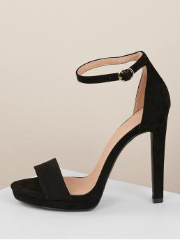 Glamorous Open Toe Ankle Strap Black High Heel Stiletto Solid Band Ankle Strap Low Platform Stiletto Heels