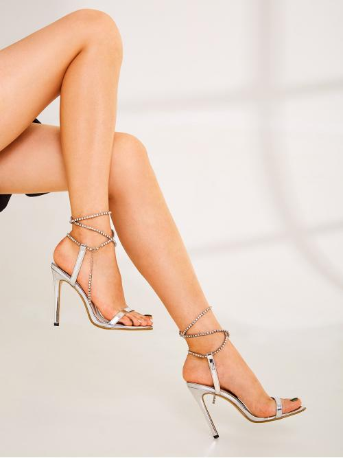Glamorous Lace Up Silver High Heel