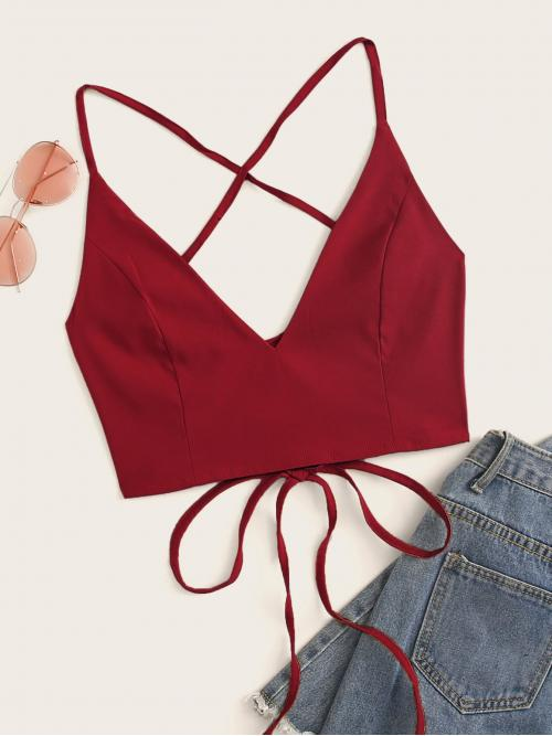 Sexy Cami Plain Regular Fit Spaghetti Strap Burgundy Crop Length Solid Lace Up Back Cami Top