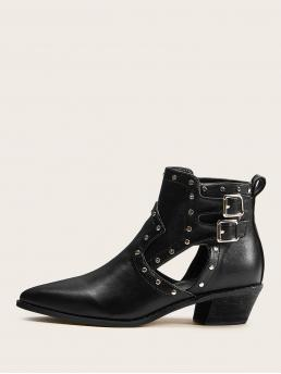 Comfort Other No zipper Black Chunky Point Toe Studded Decor Ankle Boots