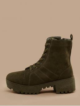 Business Casual Combat Boots Almond Toe Plain Side zipper Army Green Mid Heel Chunky Lace Up Platform Heavy Sole Heeled Military Boots