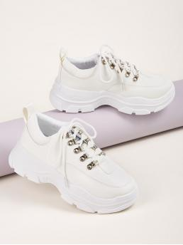 Comfort Round Toe Plain Lace Up White Lace-up Front Chunky Sneakers