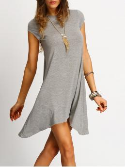 Grey Plain Asymmetrical Round Neck Asymmetric Hem Casual Tunic Dress on Sale