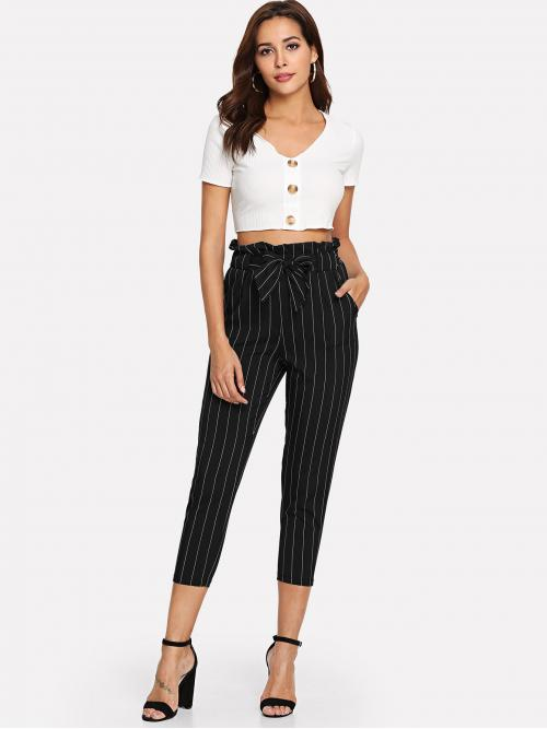 Casual Striped Tapered/Carrot Regular Elastic Waist High Waist Black Cropped Length Striped Paperbag Waist Belted Pants with Belt