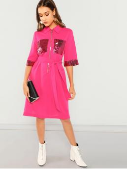 Pink Plain Ring Collar Neon O-zip Half Placket Sequin Detail Slit Dress Cheap