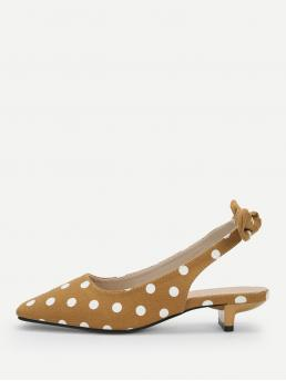 Slingback Flats Square Toe Polka Dot Slingbacks Yellow Bow Decorated Polka Dot Kitten Heel Flats