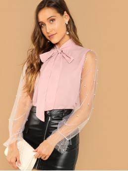 Elegant Plain Top Regular Fit Stand Collar Long Sleeve Flounce Sleeve Pullovers Pink and Pastel Regular Length Tie Neck Pearl Beading Mesh Sleeve Top