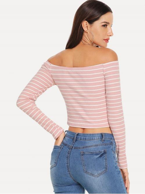 Pretty Long Sleeve Top Contrast Lace Satin Rib Knit Tee